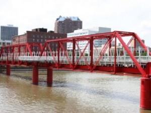 27 red railroad bridge