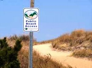 20 beach access sign