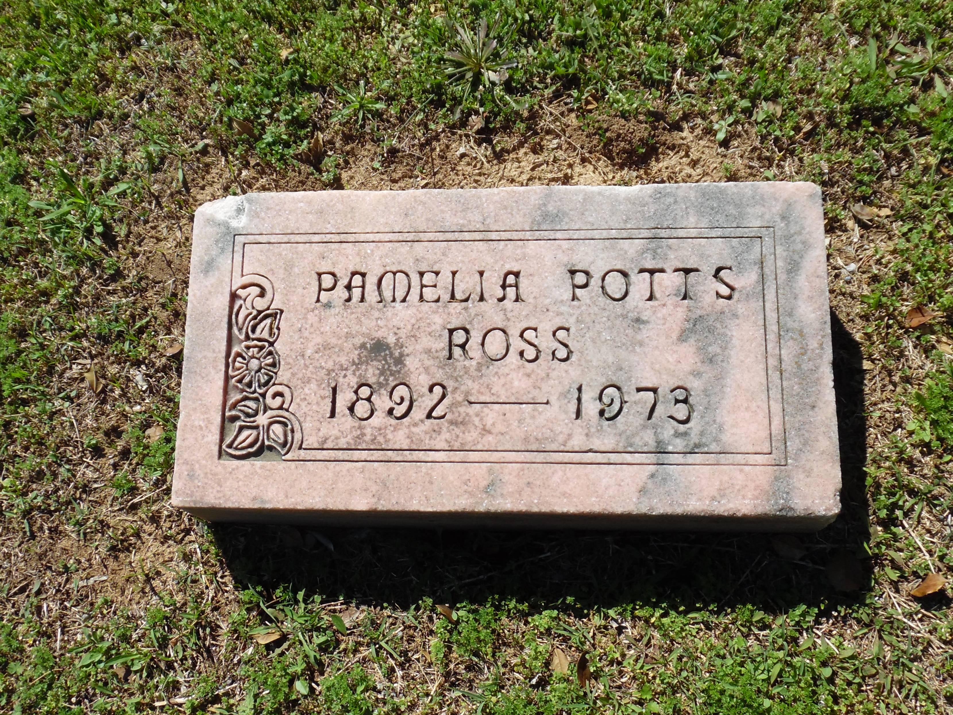 Pamelia Potts Ross Gravestone